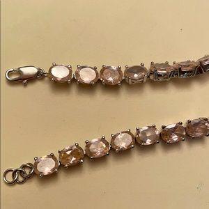 Vintage pink crystal silver  tennis bracelet